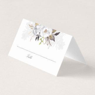 白および金ゴールドの水彩画の花のエレガントなロマンチック プレイスカード
