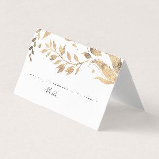 白および金ゴールドの紅葉の結婚 プレイスカード