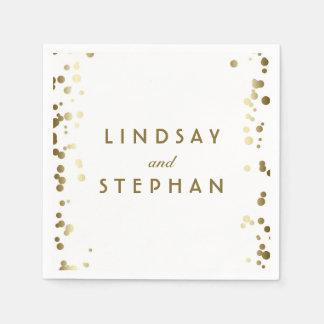 白および金ゴールドの紙吹雪の点の結婚 スタンダードカクテルナプキン