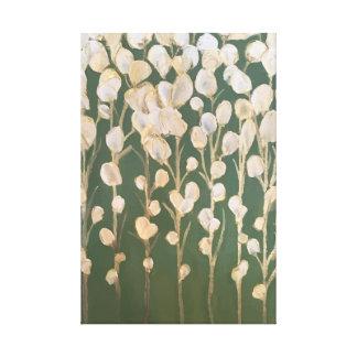 白および金ゴールドの花のファインアート キャンバスプリント