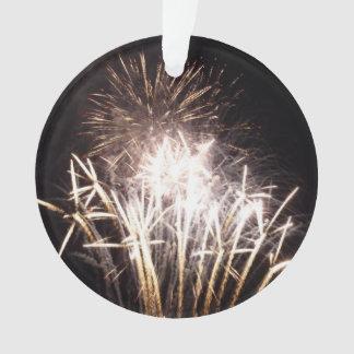 白および金ゴールドの花火Iの愛国心が強いお祝い オーナメント