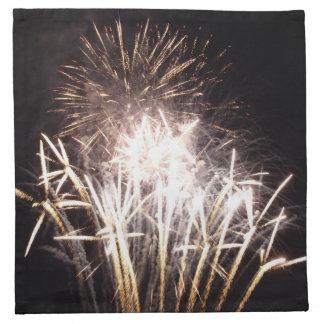 白および金ゴールドの花火Iの愛国心が強いお祝い ナプキンクロス