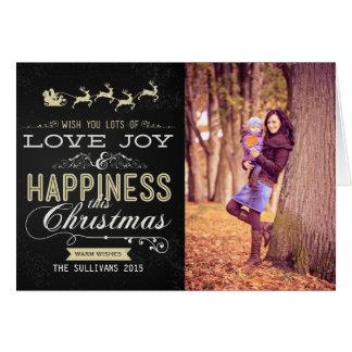 白および金ゴールドの黒板のクリスマスによって折られるカード グリーティングカード