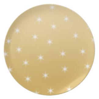 白および金ゴールド色の星パターン プレート