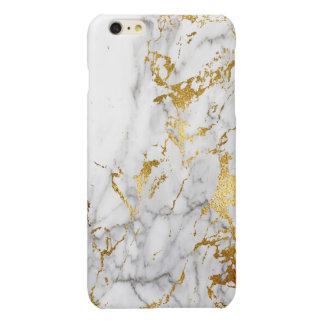 白および金ゴールド都市大理石にパターン向くこと 光沢iPhone 6 PLUSケース