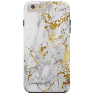 白および金ゴールド都市大理石にパターン向くこと TOUGH iPhone 6 PLUS ケース