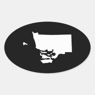 白および黒のロードアイランド 楕円形シール