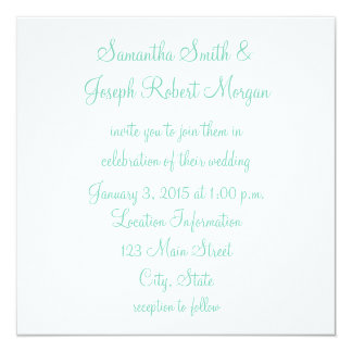 白およびSeafoamの緑の結婚式 カード