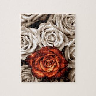 白くおよび赤いバラの花束 ジグソーパズル