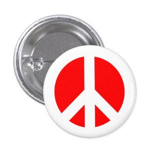白くおよび赤いピースマークボタン 3.2CM 丸型バッジ