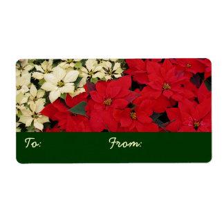 白くおよび赤いポインセチアIの休日の花柄 ラベル