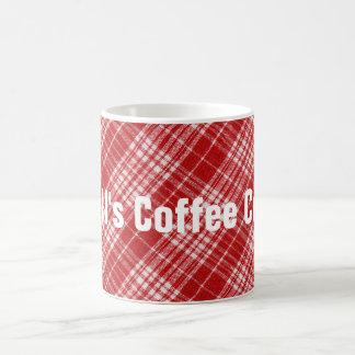 白くおよび赤い格子縞の斜めの生地のデザイン コーヒーマグカップ