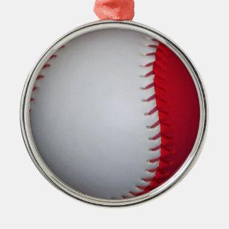 白くおよび赤い野球/ソフトボール メタルオーナメント