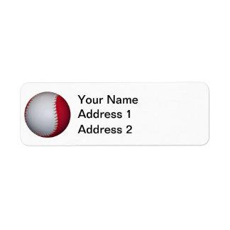 白くおよび赤い野球/ソフトボール ラベル