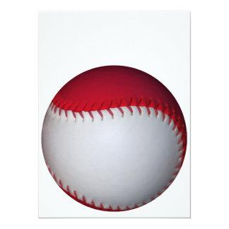 白くおよび赤い野球/ソフトボール 14 X 19.1 インビテーションカード