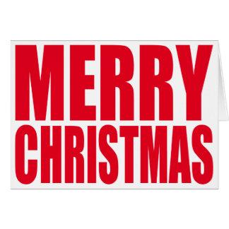 白くおよび赤く大きいブロックのメリークリスマス カード