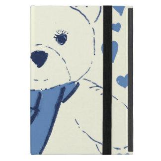白くおよび青のテディー・ベア iPad MINI ケース