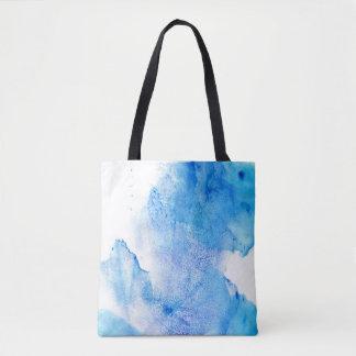 白くおよび青の水彩画 トートバッグ