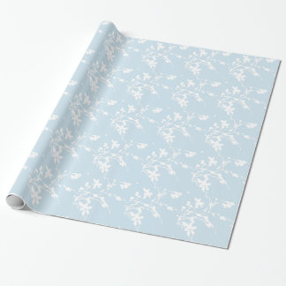 白くおよび青の紫色の花パターン ラッピングペーパー