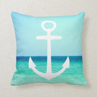 白くおよび青の航海のないかりの枕 クッション