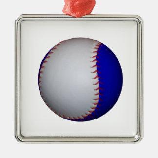 白くおよび青の野球/ソフトボール メタルオーナメント