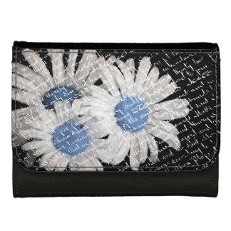 白くおよび青デイジーの財布