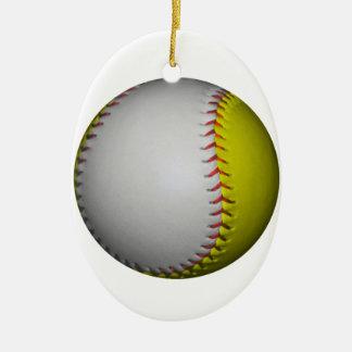 白くおよび黄色のソフトボール/野球 セラミックオーナメント