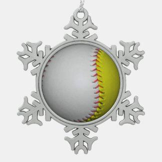白くおよび黄色のソフトボール/野球 ピューター製スノーフレークオーナメント