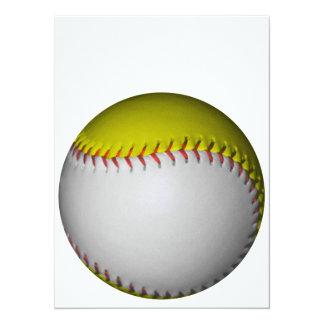白くおよび黄色のソフトボール/野球 14 X 19.1 インビテーションカード