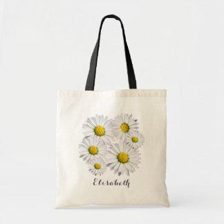 白くおよび黄色のデイジーの生け花 トートバッグ
