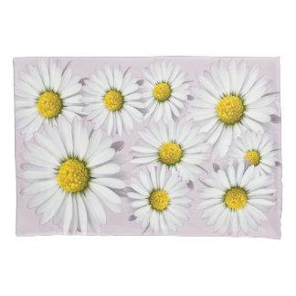 白くおよび黄色のデイジーの花パターン 枕カバー