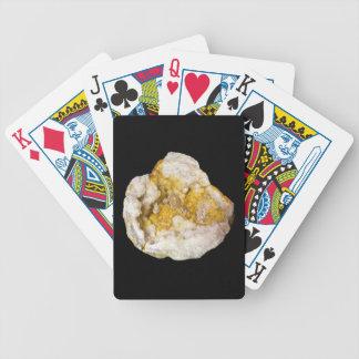 白くおよび黄色の水晶の写真と半分Geode バイスクルトランプ