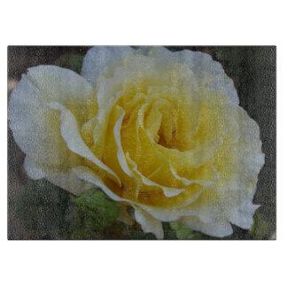 白くおよび黄色バラのガラスまな板 カッティングボード