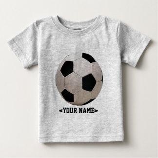 白くおよび黒いサッカーボール ベビーTシャツ