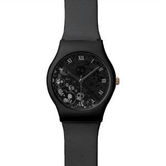 白くおよび黒いスカルの頭部 腕時計