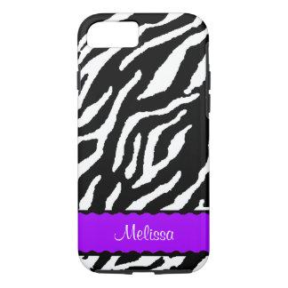 白くおよび黒いトラとの紫色のアクセント iPhone 8/7ケース