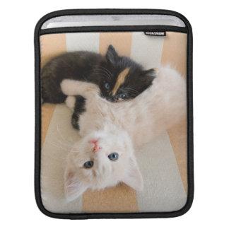 白くおよび黒い子ネコ iPadスリーブ