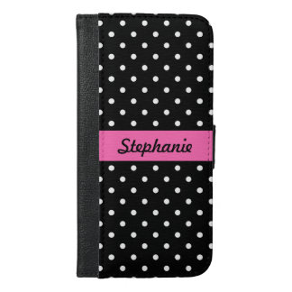白くおよび黒い水玉模様パターン iPhone 6/6S PLUS ウォレットケース