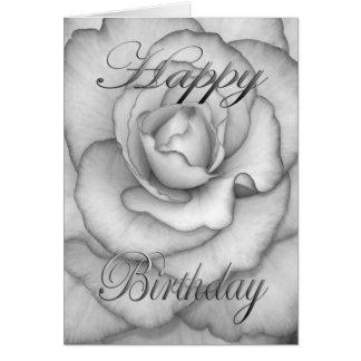 白くおよび黒い誕生日の花 カード