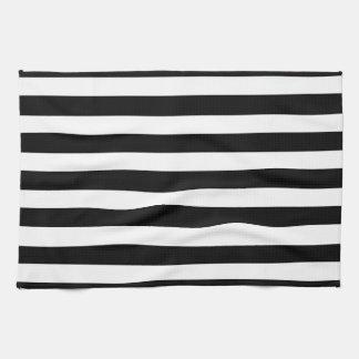 白くおよび黒くエレガントな横のストライプなパターン キッチンタオル