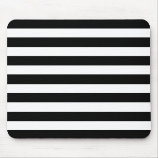 白くおよび黒くエレガントな横のストライプなパターン マウスパッド