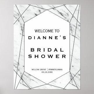 白くおよび黒く幾何学的なブライダルシャワーの歓迎 ポスター