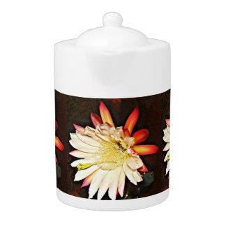 白くか赤いサボテンの花の茶ポット