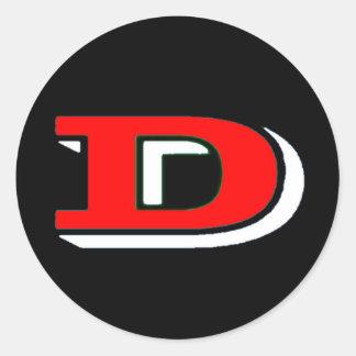 白くか赤い災害のスケートのロゴのステッカー ラウンドシール