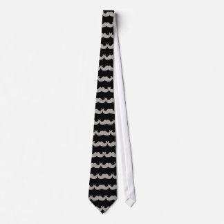 白くきらきら光るな髭(模造のなグリッターのグラフィック) ネクタイ