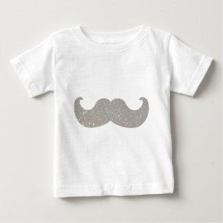 白くきらきら光るな髭(模造のなグリッターのグラフィック) ベビーTシャツ