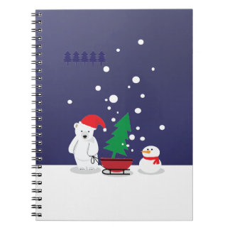 白くまおよびクリスマスツリー ノートブック