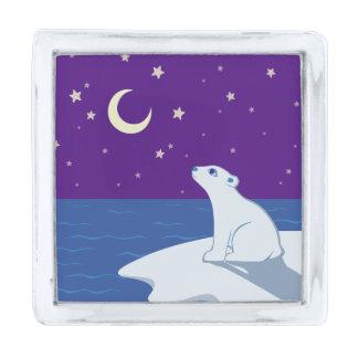白くまのカブスの星を眺める芸術 シルバー ラペルピン