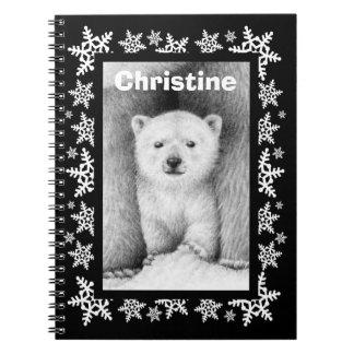 白くまのカブスの雪片のクリスマスのノート ノートブック