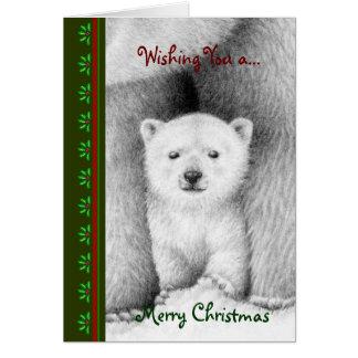 白くまのカブスChrismasカード グリーティングカード